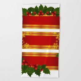 Christmas holly decoration Beach Towel