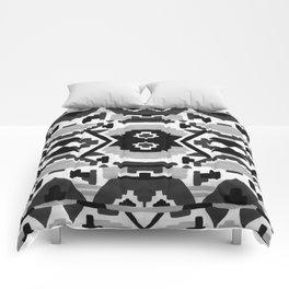 Geometric Aztec - black and white Comforters