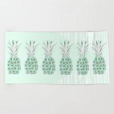 Floral Pineapple Stripes Mint Beach Towel