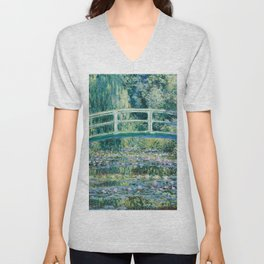 1899-Claude Monet-Water Lilies and Japanese Bridge Unisex V-Neck