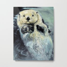 Sea otter painting Metal Print