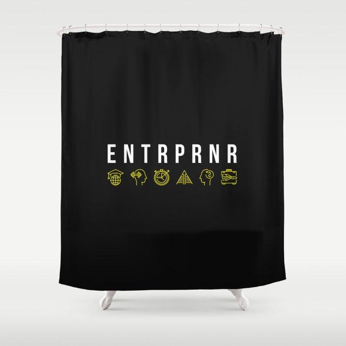 ENTRPRNR - Entrepreneur with Icons Shower Curtain