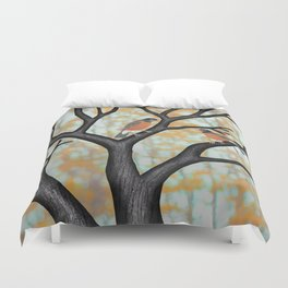 American robins at sunrise Duvet Cover