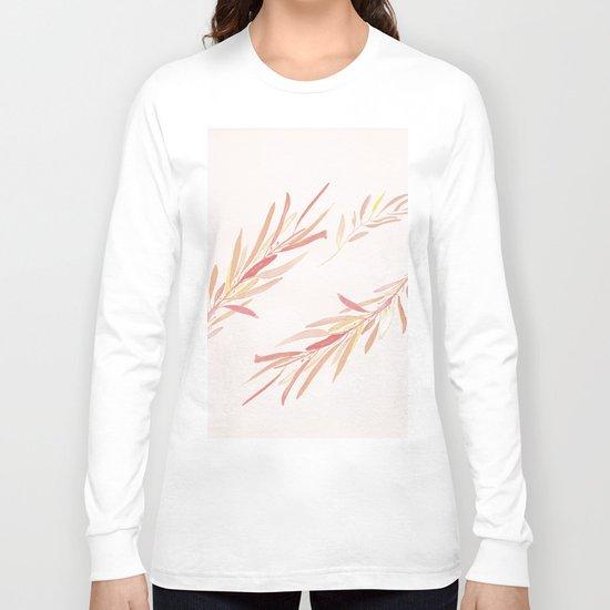 Eucalyptus Leaves Pink Long Sleeve T-shirt
