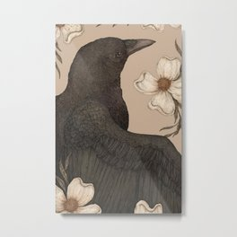 The Crow and Dogwoods Metal Print