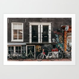 Bikes and graffiti in Amsterdam Art Print