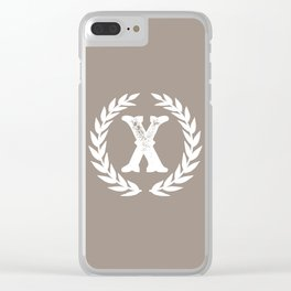 Beige Monogram: Letter X Clear iPhone Case