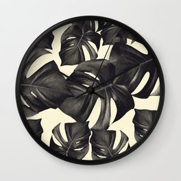 Monstera Leaves Pattern #8 #tropical #decor #art #society6 Wall Clock