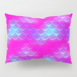 Pink and Blue Mermaid Tail Abstraction. Magic Fish Scale Pattern Pillow Sham