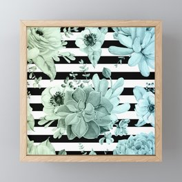 Succulents in the Garden Teal Blue Green Gradient with Black Stripes Framed Mini Art Print