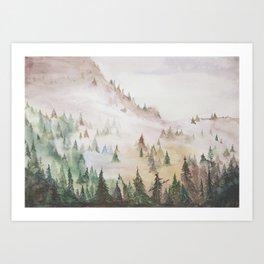 Forêt dans la brume Art Print
