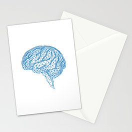 blue human brain Stationery Cards