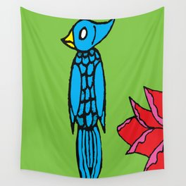 Birdie blue Wall Tapestry