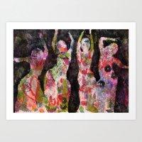 Dancing ladies Art Print