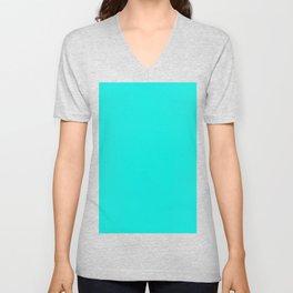 Bright Turquoise Unisex V-Neck