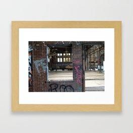 FE Window Graffiti and Train Framed Art Print