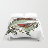 whales Duvet Covers featuring Whales by green penguin