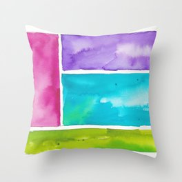180811 Watercolor Block Swatches 8| Colorful Abstract |Geometrical Art Throw Pillow
