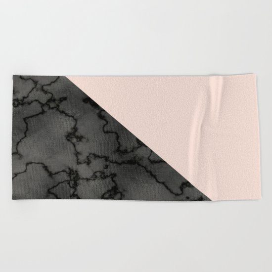 Peach and black dark marble Beach Towel