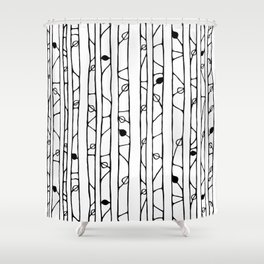 Into the Woods black on white Shower Curtain