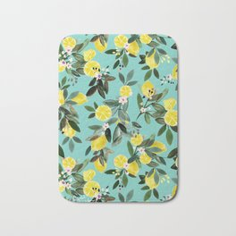 Summer Lemon Floral Bath Mat