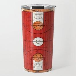 Red Basketball Court with Basketballs Travel Mug