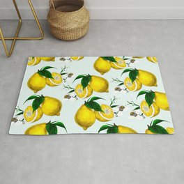 Cute Lemon Print on Blue Background Rug