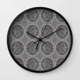 Grisaille Charcoal Grey Neo-Classical Ovals Wall Clock