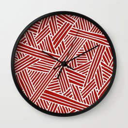 Abstract Navy Red & White Lines and Triangles Pattern Wall Clock