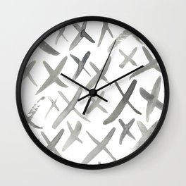Watercolor X's - Grey Gray Wall Clock
