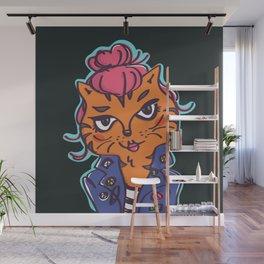 Cool Tiger Cat Girl Wall Mural