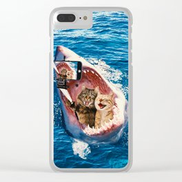 Cat Selfie - Selfie in the Great White Shark Jaw Clear iPhone Case