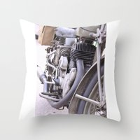 motorbike Throw Pillows featuring Old motorbike by Carlo Toffolo