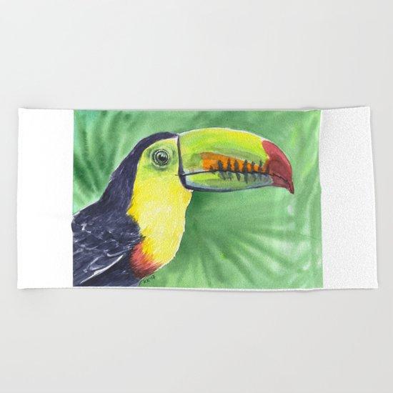 Toucan, tropical bird in watercolors Beach Towel