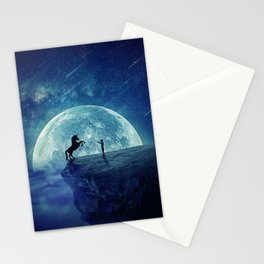 How to tame a unicorn? (night scene) Stationery Cards