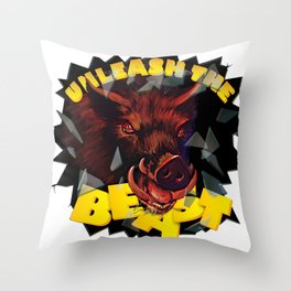 Unleash the Beast wild bore Throw Pillow