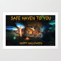 Safe Haven to You - Happy Halloween - Greeting Card Art Print