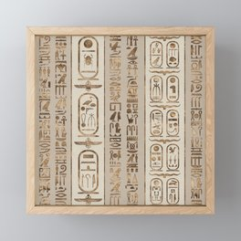 Egyptian hieroglyphs Pastel Gold Framed Mini Art Print