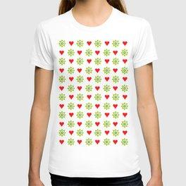 Heart and green flower T-shirt