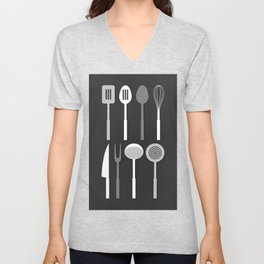 Kitchen Utensil Silhouettes Monochrome Unisex V-Neck