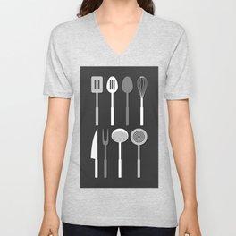 Kitchen Utensil Silhouettes Monochrome Unisex V-Neck