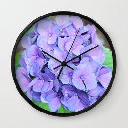 Organic blue pink hortensia flowers nature photo Wall Clock