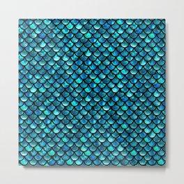 Mermaid Scales - Turquoise Blue Metal Print