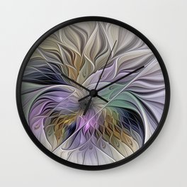 Abstract Flower, Colorful Floral Fractal Art Wall Clock