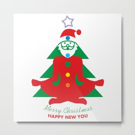 Congratulations from yoga Santa Claus. Merry Christmas and Happy new you Metal Print