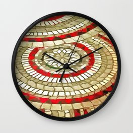 Mosaic Circular Pattern In Red and Gold Wall Clock