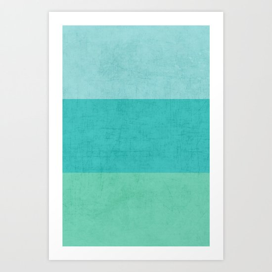 three stripes - teal Art Print