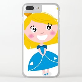 Happy smiling cute blond princess / Blue Clear iPhone Case