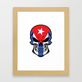 Cuban Flag Skull Framed Art Print