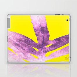 Green Fern on Bright Yellow Inverted Laptop & iPad Skin